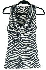 Cache Medium Cowl Neck Blouse Sleeveless White Black Leopard Animal Print Top
