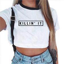 Mujer Verano Camiseta Manga Corta Tirantes Blusa Entallado Tops ropa deportiva