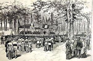 Crestline Ohio 1887 SHERMAN BRIGADE - GOVERNOR FORAKER Antique Print Matted