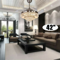 """42"""" Gold Crystal Ceiling Fan Chandelier w/ Led Light Remote Retractable Blades"""