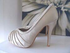 Shoes satin Wedding dance heels champagn heel crystal encrusted size 4 (37)
