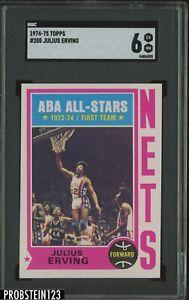 1974-75 Topps Basketball #200 Julius Erving New Jersey Nets HOF SGC 6 EX-NM