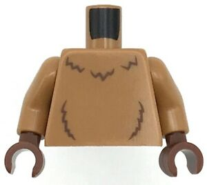 Lego New Medium Dark Flesh Minifig Torso with Reddish Brown Fur Lines Pattern