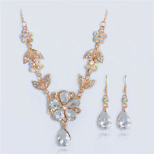 Wedding Necklace Earrings 18k Gold Plated Clear Rhinestone Jewelry Sets