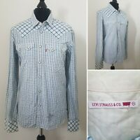 Mens LEVIS Check Shirt Sz M Western Popper Line-Dancing Casual Blue & White