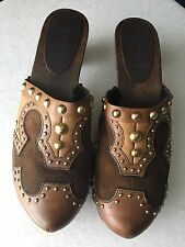 MIU MIU BY PRADA Brown Suede Leather Gold Studs Clogs 39.5