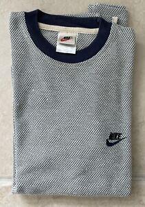 VTG Nike Swoosh Check Long Sleeve Sweater Part Cotton Shirt Gray New ***