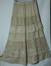 Fawn Beige Tiered Skirt Full length Hippy Gypsy Bohemian style Plus Size XXL 2X