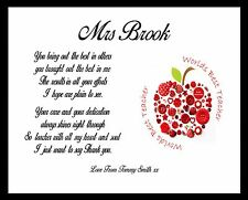 Thank You Teacher Gift APPLE Personalised TA School Leaving Present A4 Poem Art