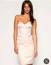 Karen Millen Uk10 Dusky Pink Corset Satin Pencil Dress