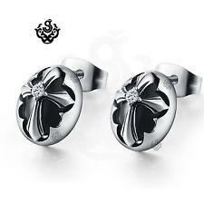 Silver stud clear crystal stainless steel cross shield earrings soft gothic