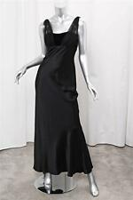 OSCAR DE LA RENTA Black Silk Satin+Velvet Empire Waist Gown Formal Dress 4
