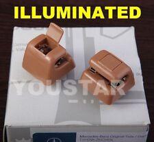 AU STOCK x2 Tan Palomino ILLUMINATED SunVisor Clips Mercedes W123 W124 W126 W201