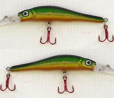 2 x Fladen Warbird 7cm Deep Minnow 7 Rattler Plug Lure 6g Yellow Orange Green