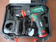 Parkside 12v Trapano senza fili + Cacciavite PBSA 12 D3 Con Batteria & Caricabatteria