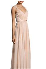 NWT VERA WANG $340 Blush Pink V Neck Back Pleated Gown 1F01W12 Bloom Dress 2 0 S