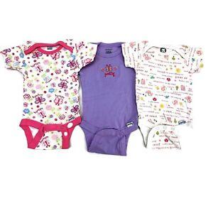 Gerber Infant Girls Set of 3 Purple Butterfly One Piece Bodysuits Size 0-3M