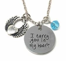 925 Silver Plt 'I Carry You In My Heart' Angel Wing Love Necklace Wife Gift A