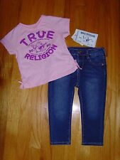 NEW TRUE RELIGION BABY GIRLS OUTFIT 2PC GIFT SET JEANS & TEE T-SHIRT SIZE 12 M
