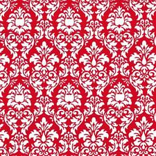 MICHAEL MILLER WHITE DAMASK ON RED COTTON FABRIC BTY