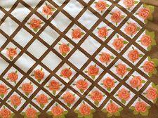 Large Vintage Rectangle Table Cloth Rose & Trellis Floral Pattern 100% Cotton