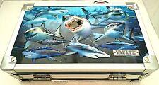 Vaultz Metal Pencil Box w/Sturdy Key Lock Exterior Includes Keys New 3D Sharks
