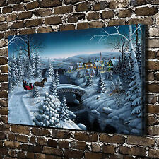 Scenery Christmas town HD Print on Canvas Home Decor Wall Art Pictures Posters