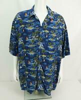 NEW alt Disney World Hawaiian Camp Shirt Button Up All Over Blue Men's XL