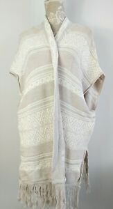 Fat Face Sleeveless Long Line Open Poncho Style Cardigan Size Large