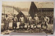Maori Warriors Tribe Rotorua NZ New Zealand Real Photo Postcard Antique Vintage