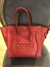 Celine Micro Luggage Tote Handbag Red- Retail $2,900+tax