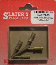 Slaters 7A35 - Liso Redondo Chimenea Frascos X 4 Fundido Latón 0 Calibre