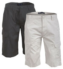 Mens Cotton Cargo Shorts Casual Summer Mid Length New Combat Pockets Plain Pants