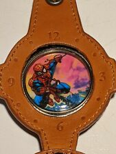 1997 Spider-Man Marvel Comics Collectible Silver Pocket Watch & Leather Pouch
