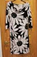 Ann Taylor Loft Floral Drape Neck Ruched Sheath Dress Size L