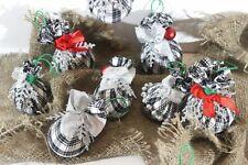 Vintage HANDMADE Tartan Balls Christmas Tree Hanging Ornaments Decoration Set 12