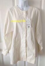 Uniqlo U Women Smock Style Collarless Long Sleeve Shirt Top Off White M Medium