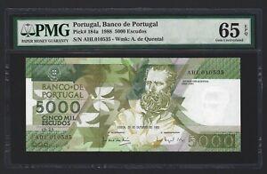 PORTUGAL 5000 Escudos 1988, 1st Date P-184a, PMG 65 EPQ GEM UNC, VERY RARE GRADE