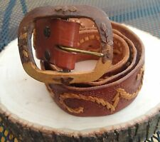 Vintage 70s BoHo Leather Belt With Wood Buckle Made In Mexico Unisex Size Small