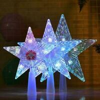 Star LED Light Xmas Tree Topper Party Ornament Battery Operated Decor Xmas K3Q7