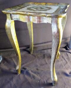Old Vintage MCM Furniture Wood Gold Gilt Florentine Italian Italy Side Table
