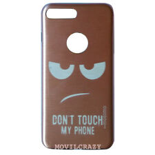 FUNDA TAPA DURA METÁLICA CUSTODIA PARA IPHONE 7 PLUS DIBUJO DON'T TOUCH MY PHONE