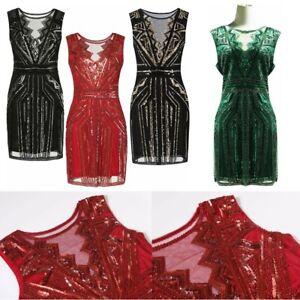 1920s Sexy Beaded Vintage Sequin Sleeveless Women Party Evening Dress Size S-XXL