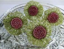 Napkin Rings Beaded Floral Holders Pink Green #EL8