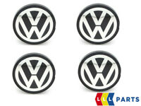 NEW GENUINE VW 56MM ALLOY WHEEL SILVER & BLACK FLAT STYLE CENTER CAPS 4 PIECES