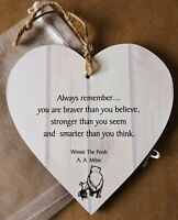 Winnie the Pooh Plaque Sign 'Always Remember' - Gift & Chiffon Pouch Large 15cm