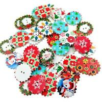 50pcs Mixed Christmas 2 Holes Wooden Buttons Sewing Scrapbooking Crafts 25mm Hot