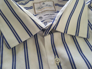 NWOT Brooks Brothers Luxury Collection White Blue Stripe 19-36 Madison MSRP $168