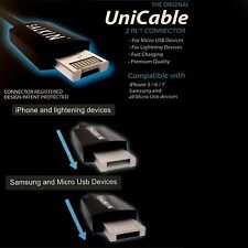2 in 1 Micro USB & Lightning Cable  Patented Design For  Apple Samsung Android