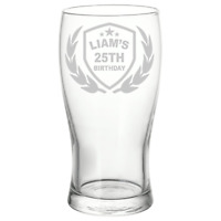 Personalised Birthday Name Crest Pint Glass  Gift Free Delivery